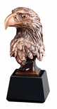 8 INCH BRONZE PLATED AMERICAN EAGLE HEAD TROPHY ON BLACK BASE