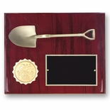 8 X 10 INCH ANTIQUE BRASS SHOVEL PLAQUE HOLDS 2 INCH INSERT