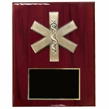 8 X 10 INCH EMT\PARAMEDIC STAR OF LIFE PLAQUE ON PIANO FINISH CHERRY BOARD