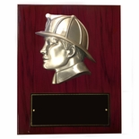 8 X 10 INCH FIREMAN'S HEAD ON PIANO FINISH CHERRY BOARD PLAQUE