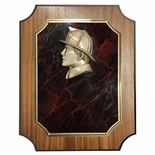 8 X 10 INCH FIREMAN NOTCHED WALNUT VENEER BOARD PLAQUE