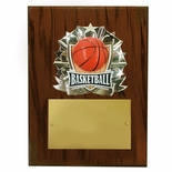 8 X 10 INCH FULL COLOR RAISE MODELED BASKETBALL PLAQUE