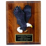 8 X 10 INCH PLAQUE WITH HAND PAINTED EAGLE AND BLACK PLATE
