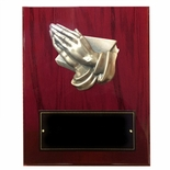 8 X 10 INCH PRAYING HANDS PLAQUE PIANO CHERRY FINISH BOARD