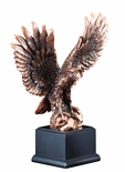 9-1/2 INCH ELECTROPLATED BRONZE AMERICAN EAGLE ON ROCK BLACK BASE