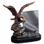 9-1/2 INCH ELECTROPLATED BRONZE EAGLE ON ROCK WITH 4 X 6 INCH GLASS TROPHY