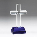 9-3/4 INCH CRYSTAL RELIGIOUS CROSS BLUE CRYSTAL BASE