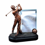 9 MALE GOLFER TROPHY ELECTROPLATED BRONZE WITH ENGRAVING GLASS