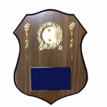 9 X 11-1/2 INCH POLICE SHIELD SHAPE PLAQUE WITH 2 FLAME WREATHS