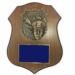 9 X 11-1/2 INCH POLICE PLAQUE ON WALNUT VENEER SHIELD SHAPE BOARD