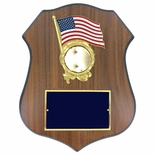 9 X 11-1/2 INCH POLICE SHIELD SHAPE PLAQUE WITH AMERICAN FLAG WREATH