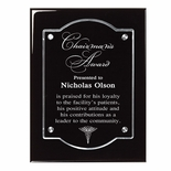 9 X 12 BLACK PIANO FINISH PLAQUE WITH FLOATING ACRYLIC