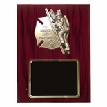 9 X 12 FIREFIGHTER WITH CHILD PIANO CHERRY FINISHED PLAQUE