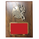 9 X 12 FIREFIGHTER WITH CHILD WALNUT VENEER PLAQUE
