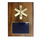 9 X 12 INCH EMT\PARAMEDIC STAR OF LIFE PLAQUE ON WALNUT VENEER BOARD