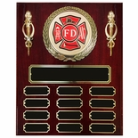 10-1/2 X 13 INCH FIRE DEPT. PERPETUAL PLAQUE ON PIANO FINISHED CHERRY BOARD