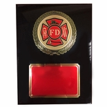 9 X 12 INCH FIRE DEPT. PIANO FINISH BLACK BOARD PLAQUE