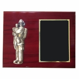 9 X 12 INCH FIRE FIGHTER HOLDING CHILD ON PIANO FINISH CHERRY PLAQUE