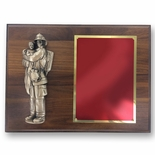 9 X 12 INCH FIRE FIGHTER HOLDING CHILD ON WALNUT VENEER PLAQUE