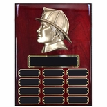 9 X 12 INCH FIREMAN'S HEAD PERPETUAL PLAQUE ON PIANO FINISHED CHERRY BOARD