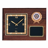 9 X 12 INCH GENUINE WALNUT PLAQUE CLOCK, TAKES 2 INCH INSERT