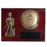 9 X 12 INCH MINUTEMAN PLAQUE WITH 4 INCH U.S. ARMY EMBOSSED MEDALLION