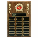 9 X 12 INCH MULTIPLE PLATE WALNUT FINISH PLAQUE, TAKES 2 INCH MEDALLION INSERT