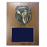 9 X 12 INCH POLICE SHIELD PLAQUE ON WALNUT VENEER BOARD