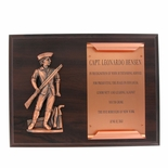 9 X 12 INCH SIMULATED WALNUT MINUTEMAN PLAQUE WITH COPPER SCROLL PLATE
