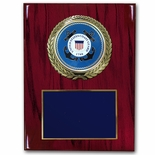 9 X 12 INCH U.S. COAST GUARD PLAQUE WITH 4 INCH EMBOSSED MEDALLION