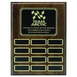 9 X 12 INCH WALNUT FINISH MULTIPLE PLATE PLAQUE WITH 12 BLACK SCREENED PLATES