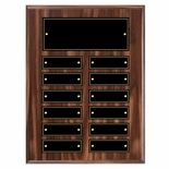 9 X 12 INCH WALNUT FINISH PERPETUAL PLAQUE WITH BLACK & GOLD PLATES