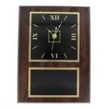 9 X 12 INCH WALNUT FINISH PLAQUE WITH CLOCK AND BLACK SCREENED PLATE
