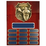9 X 12 PERPETUAL POLICE SHIELD PLAQUE ON PIANO CHERRY FINISH BOARD