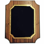 9 X 12 WALNUT VENEER NOTCHED PLAQUE WITH FROSTED GOLD AND BLACK PLATE