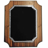 9 X 12 WALNUT VENEER NOTCHED PLAQUE WITH FROSTED SILVER AND BLACK PLATE