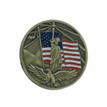 AMERICAN FLAG, STATUE OF LIBERTY & EAGLE BRASS LAPEL PIN