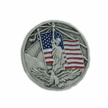 AMERICAN FLAG, STATUE OF LIBERTY & EAGLE PEWTER LAPEL PIN