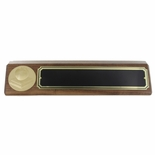 APPLE AND BOOKS GENUINE WALNUT DESK BLOCK WITH BLACK SCREENED BRASS PLATE