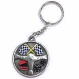 AUTO RACING PEWTER KEY CHAIN