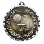 BASKETBALL ANTIQUE FINISH BRASS MEDAL