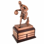 BASKETBALL PERPETUAL TROPHY, 13-1/2 INCH, ELECTROPLATED IN ANTIQUE BRONZE