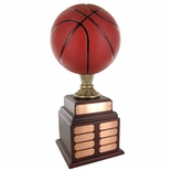 BASKETBALL PERPETUAL TROPHY, HEIGHT 20 INCHES, 9-1/2 INCH PAINTED BALL