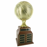 BASKETBALL PERPETUAL TROPHY, HEIGHT 20 INCHES, 9 INCH GOLD BALL