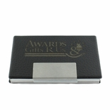 BLACK LEATHERETTE BUSINESS CARD CASE WITH SILVER ALUMINUM INSIDE