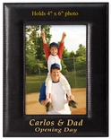 8-1/2 X 6-1/2 INCH BLACK VERTICAL LEATHERETTE PICTURE FRAME, HOLDS 4 X 6 PHOTO
