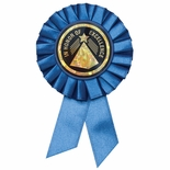 BLUE ROSETTE AWARD RIBBON WITH 2 INCH IN HONOR OF EXCELLENCE MYLAR INSERT