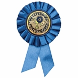 BLUE ROSETTE AWARD RIBBON WITH 2 INCH OUTSTANDING PERFORMANCE MYLAR INSERT