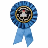 BLUE ROSETTE AWARD RIBBON WITH 2 INCH STUDENT OF THE MONTH MYLAR INSERT