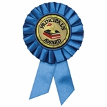 BLUE ROSETTE AWARD RIBBON WITH 2 INCH PRINCIPLES AWARD MYLAR INSERT